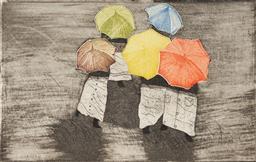 Sale 9099A - Lot 5004 - Christina Cordero (1938 - ) - Umbrellas I, 1985 20 x 12.5cm (frame: 34.5 x 33.5 x 1.5cm)
