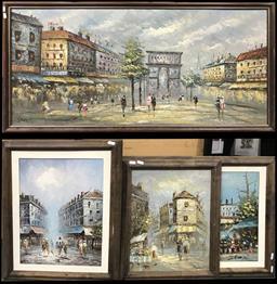 Sale 9103 - Lot 2086 - Group of (5) Retro Parisian Street Scene Paintings by J Burnett, largest: 65 x 126cm (frame)