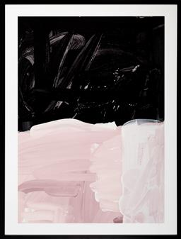 Sale 9150H - Lot 74 - A framed blacklist abstract print in pink and black tones, frame size 103x 78cm