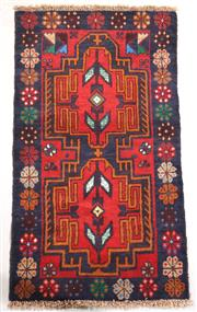Sale 8445K - Lot 24 - Afghan Baluchi Tribal Rug , 146x80cm, Handwoven in Afghanistan using local wool. Highly durable rustic construction. Heavily motifed...