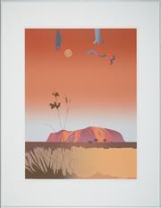 Sale 8506 - Lot 2021 - Malcolm Warr (1939 - ) - Uluru II (Symbols), 1988 76 x 55.5cm