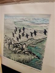 Sale 8663 - Lot 2022A - Pamela Griffith (1943 - ) - March of the Penguins 21 x 20cm (sheet size: 30 x 29.5cm)