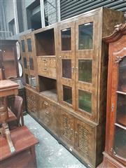 Sale 8676 - Lot 1179 - Large Timber Wall Unit with Glass Panelled Doors & Central Drawers