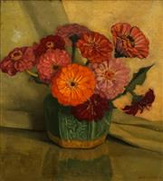 Sale 8692 - Lot 573 - Albert John Sherman (1882 - 1971) - Floral Still Life 37 x 33cm