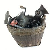Sale 8795K - Lot 289 - A quantity of cast iron meat grinders in cane basket (6)