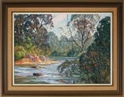 Sale 8953 - Lot 2009 - John Emmett (1927 - ) - Evening Light on the Cox River, Megalong Valley Blue Mountains 40.5 x 55.5 cm (frame: 55 x 70 cm)
