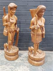 Sale 9006 - Lot 1036 - Pair of Filipino carved figures - some losses (H:103cm)
