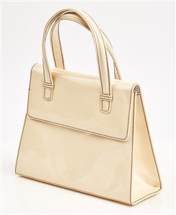 Sale 9091F - Lot 86 - A BRUNO MAGLI CREAM PATENT LEATHER TWIN HANDLED BAG; contrast black stitching, with dust bag