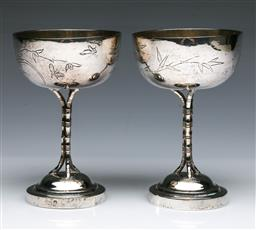 Sale 9093P - Lot 31 - Pair of Chinese Silver Cups on bamboo stems stamped mark (H: 13 cm)
