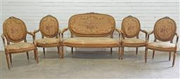 Sale 9097 - Lot 1062 - Good Louis XVI Style Carved & Gilt Five Piece Salon Suite comprising settee & four armchairs, upholstered in original floral fabric...