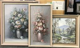 Sale 9103 - Lot 2087 - 3 Works: Two Vintage Still Life Paintings, together with a Creek Scene by Brian Elvish, 71 x 61cm; 66 x 36cm; 50 x 60cm