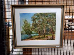 Sale 9127 - Lot 2062 - C. Bowman Braithwaite , Riverbank, oil on board, frame: 31 x 36 cm, signed -
