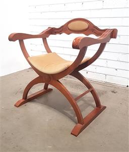 Sale 9146 - Lot 1031A - Timber savonarola chair with cushion back & curved upholstered seat (h:71 w:67 d:51cm)