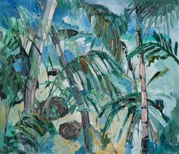 Sale 9161A - Lot 5004 - NORMA GIBSON - Coastal Views through the Palms 56.5 x 76 cm (frame: 90 x 106 x 5 cm)