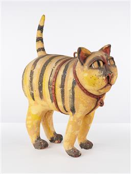 Sale 9221JM - Lot 5024 - ELS HOUWEN Untitled (Cat) painted ceramic 63 x 44 x 24 cm signed