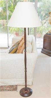 Sale 8341A - Lot 73 - A pair of tall federation style cast metal standing lamps with cream shades, total height 162cm