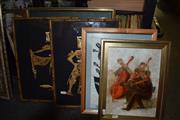 Sale 8419T - Lot 2092 - (4) Hana Juskovic - Quartet, oil on board, 29.5 x 21.5cm, signed lower left & Group of Assorted Artworks Including: Linocut, Singapor