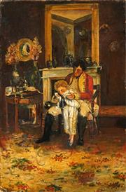 Sale 8538 - Lot 593 - Artist Unknown (C19th) - Interior Scene 91 x 60.5cm