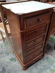 Sale 8634 - Lot 1039 - 19th Century French Walnut Bedside Cabinet, with white marble top (damaged), with a drawer above a door modelled as faux drawers & a...