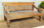 Sale 8745A - Lot 61 - An Indonesian mahogany day bed, H 100 x W 183 x D 83cm
