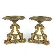 Sale 8795K - Lot 290 - A pair of suburb C19th white marble and gilt bronze comports