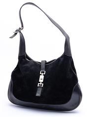 Sale 8921 - Lot 3 - A GUCCI JACKI O BLACK SUEDE SHOULDER BAG; with black leather trim, adjustable shoulder strap and black silver tone hardware, monogra...