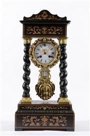 Sale 9010 - Lot 9 - An Ebonised Four Pillar French Portico Mantle Clock c1860, Signed Leroy Paris (H:50cm)