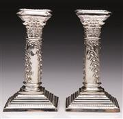 Sale 9078 - Lot 3 - A Pair of  Eugene Leclere - Sheffield Plated Candle Holders (H 17cm)