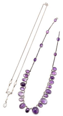 Sale 9145 - Lot 303 - TWO VINTAGE GEMSET SILVER NECKLACES; one a fringe of collet set graduated oval amethyst beads on trace chain missing clasp, length 4...