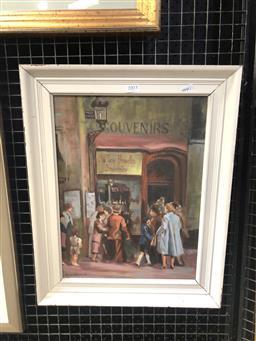 Sale 9147 - Lot 2010 - SUZANNE JOHNSTON Street Scene, Brussels, oil on board frame: 50 x 40 x 3 cm, signed lower left -
