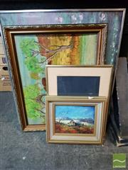 Sale 8478 - Lot 2035 - Group of Assorted Artworks by Various Artists, plus Decorative Print after Monet. (framed/various sizes) (4)