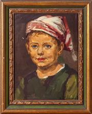 Sale 8562A - Lot 13 - K. Verbeempt, C20th - Portrait of a Boy in Dutch Garb 29 x 21.5cm
