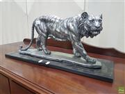 Sale 8601 - Lot 1422 - Silver Coloured Tiger Figure Mounted to Base