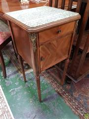 Sale 8634 - Lot 1057 - Early 20th Century French Walnut Bedside Cabinet, with figured marble top, a drawer, quarter veneered door & turned legs