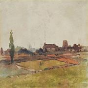 Sale 8713 - Lot 546 - W Blamire Young (1862 - 1935) - Landscape with Cottages 22 x 21.5cm