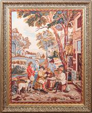 Sale 8804A - Lot 118 - A framed tapestry with a Teniers style scene, with frame 107 x 88 cm