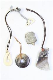 Sale 8997A - Lot 677 - Asian Stone Carved Pendants Together with Bone examples