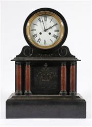 Sale 9010 - Lot 11 - A Large Black Slate Mantle Clock With Rouge Flanked Columns (H:50cm W:36cm D:19cm) (With Pendulum)