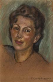 Sale 9061 - Lot 2010 - Robert Hofmann - Potrait of a Young Woman 44.5 x 29 cm (frame: 51 x 35 x 2 cm)
