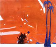 Sale 9072A - Lot 5063 - Brett Whiteley (1939 - 1992) - Big Orange with Ultramarine Palm Trees 48 x 61 cm (frame: 83 x 89 cm)