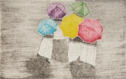 Sale 9099A - Lot 5005 - Christina Cordero - (1938 - ) - Umbrellas II, 1985 20 x 12.5 cm (frame: 45 x 35 x 2 cm)
