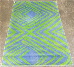 Sale 9117 - Lot 1057 - Modern blue and green woollen rug by Robyn Cosgrove (180 x 125cm)