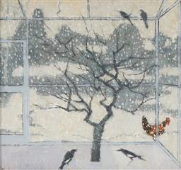 Sale 9125A - Lot 5001 - Alexander Fraser (1940 - ) - Small Winter Aviary, 2001 19 x 21 cm (frame: 28 x 30 x 3 cm)