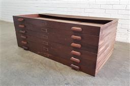 Sale 9154 - Lot 1081 - Set of six oak plan drawers (h: 8.5 x w:146 x d:76cm)
