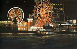Sale 9249A - Lot 5024 - RONALD JOHN NEAL (1969 - ) Three Rides oil on linen 117 x 183 cm (frame: 121 x 187 cm) signed