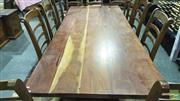 Sale 8383 - Lot 1446 - Hardwood Dining Table - H 77 x L 250 x W 106cm (Screws in Office)