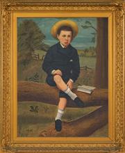 Sale 8459 - Lot 576A - Early C20th School - Portrait of a School Boy 90 x 70cm