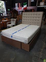 Sale 8601 - Lot 1314 - Bed & Mattress With Storage Space Below (H: 150 L: 235 W: 160cm)