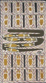 Sale 8718 - Lot 559 - Dorothy Djukulul (1942 - ) - Karritjarr & Warrnyu, 2005 natural pigments on canvas