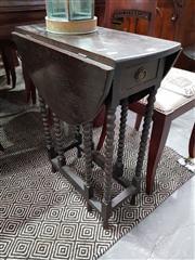 Sale 8740 - Lot 1065 - Oak Drop Side Occasional Table with Barley Twist Legs